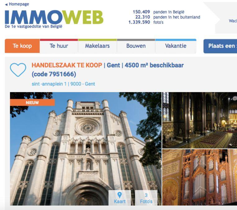 De Sint-Annakerk prijkt sinds vandaag om Immoweb