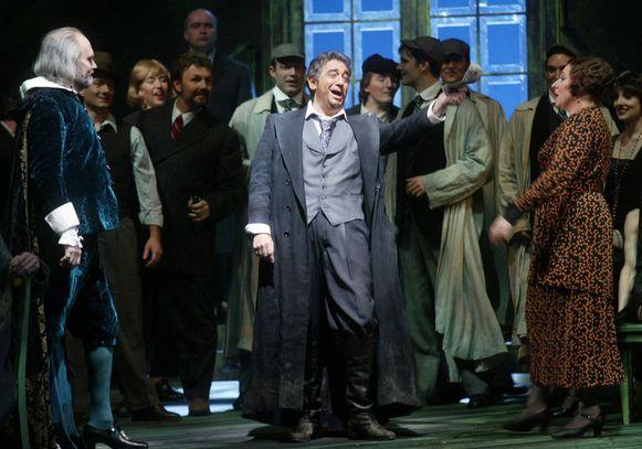 Placido Domingo (midden) tijdens een repetitie bij Metropolitan Opera in New York.