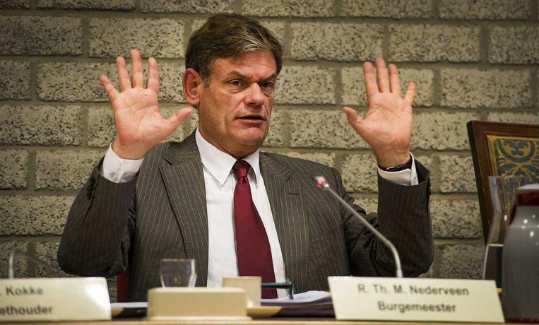 Burgemeester Ruud Nederveen tijdens de vergadering naar aanleiding van de uitzending van EenVandaag Beeld anp