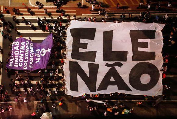 Protesten in São Paulo tegen presidentskandidaat Jair Bolsonaro.