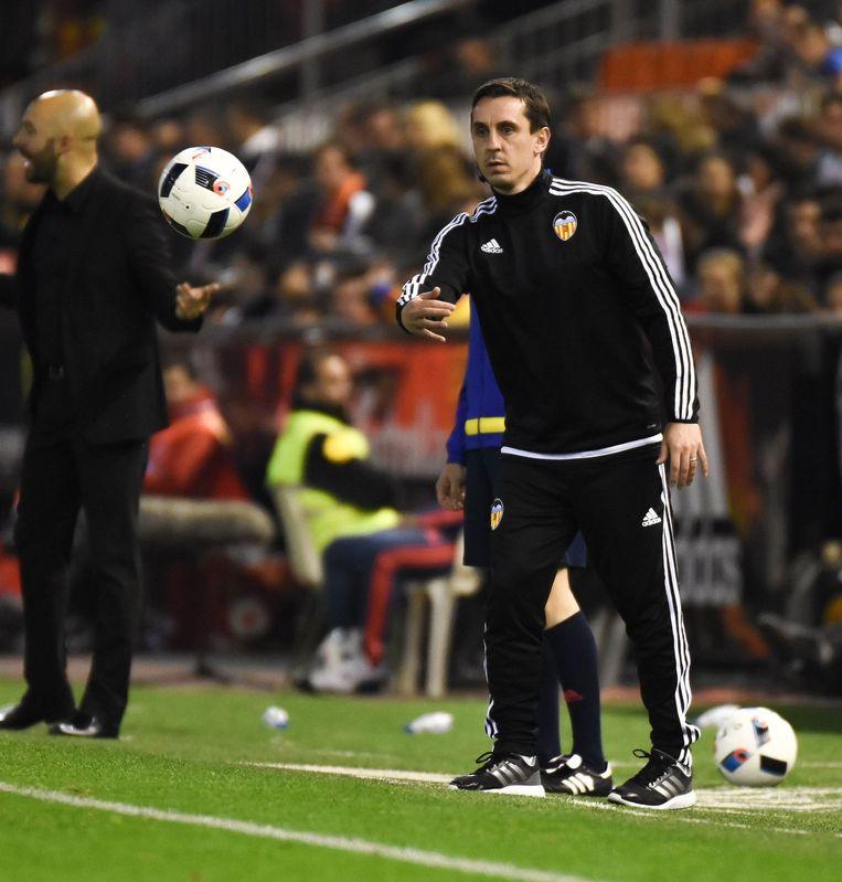 Gary Neville, coach van Valencia. Beeld photo_news