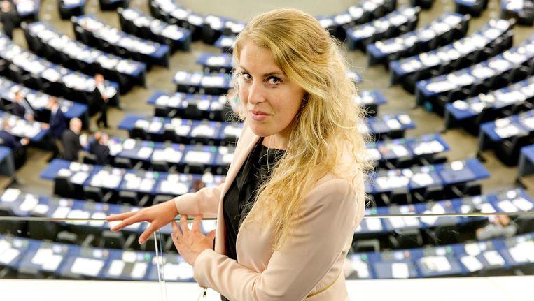 Vicky Maeijer in de plenaire zaal van het Europees Parlement. Beeld ANP