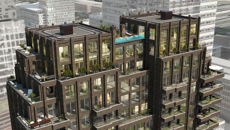 900 Mahler op de Zuidas, met bovenin de twee penthouses en daartussen het buitenzwembad. Beeld INBO Architecten