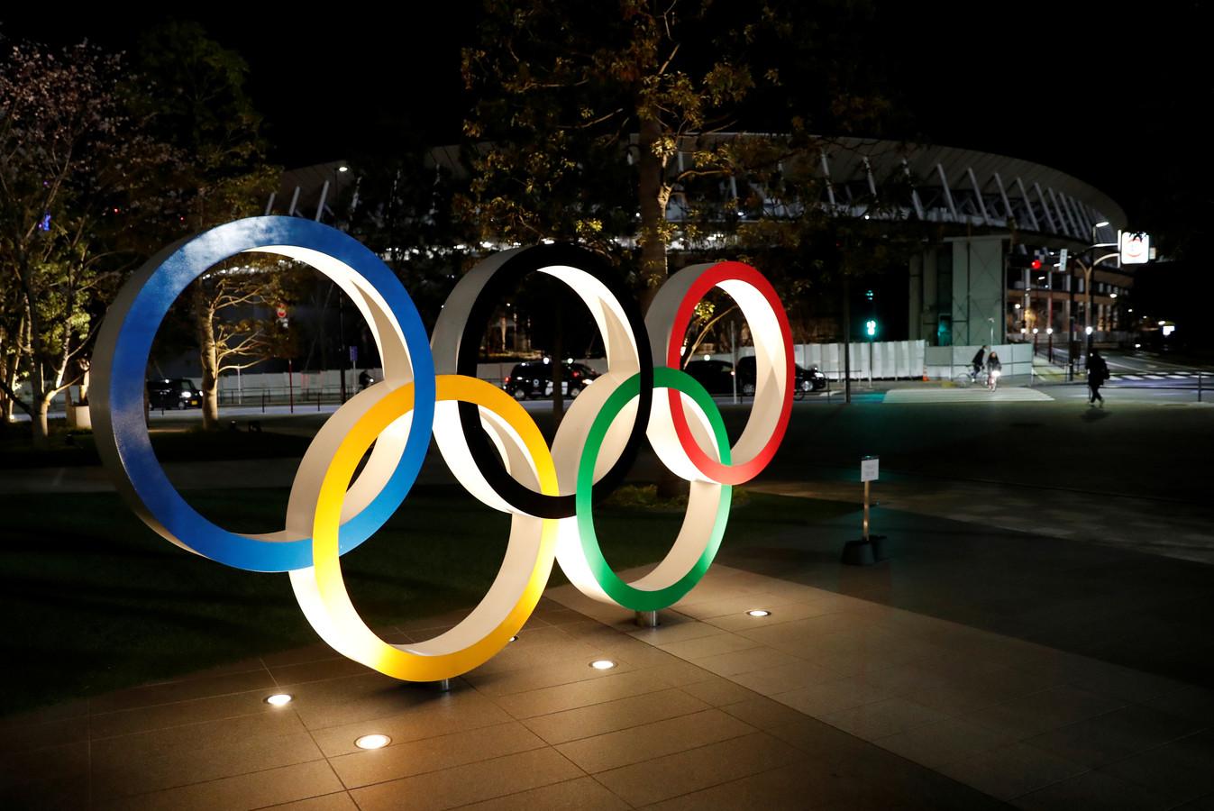 De olympische ringen in Tokio.