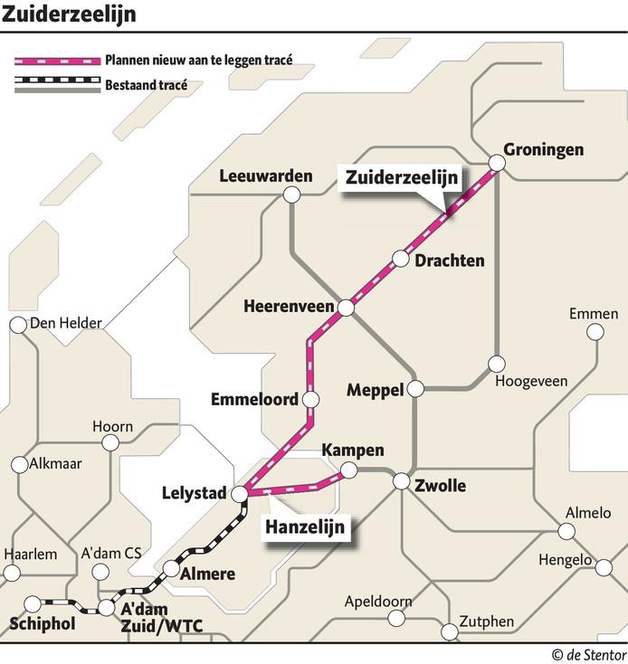 De Lelylijn zou ongeveer hetzelfde tracé moeten volgen als de Zuiderzeelijn, die in 2007 werd afgeblazen.