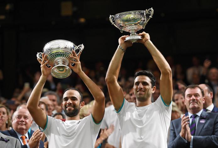 Het Colombiaanse tenniskoppel na de winst op Wimbledon in 2019.
