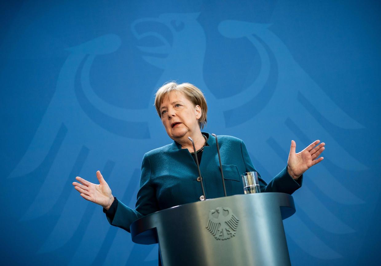 De Duitse kanselier Angela Merkel op een van haar persconferenties.