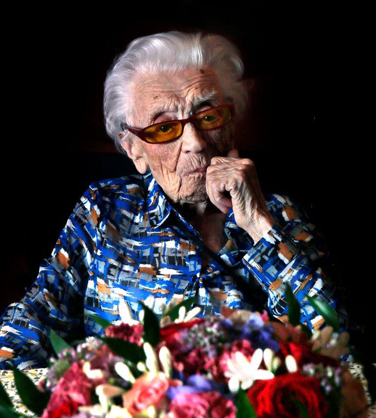 Geertje Kuijntjes op 112-jarige leeftijd.  Beeld Cor de Kock