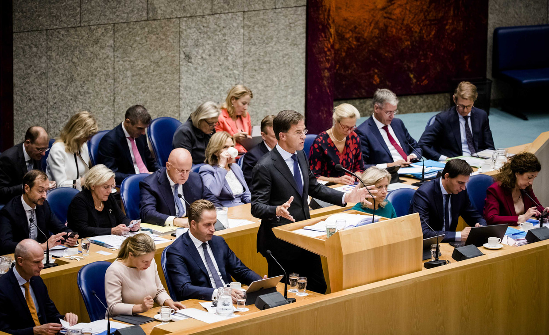 Premier Mark Rutte aan het woord in de Tweede Kamer.