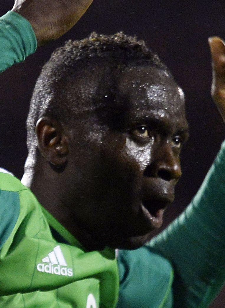 Uche Nwofor van Nigeria staat in Nederland onder contract. De spits verdient zijn geld bij sc Heerenveen, maar kwam het afgelopen seizoen niet in actie in de eredivisie. Beeld reuters