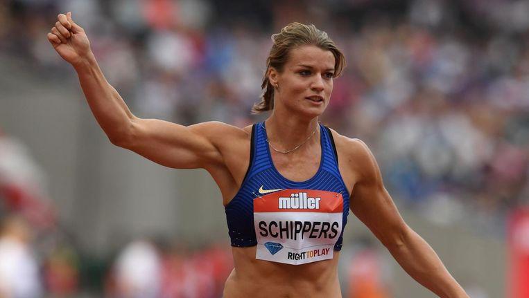 Dafne Schippers bij de 200 meter-sprint op de IAAF Diamond League Anniversary Games in Londen. Beeld anp