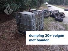 'Schofterige afvaldumping': ruim 20 velgen met banden verspreid over de weg in Sint Hubert