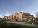 Een impressie van de bouwplannen van Burgland Real Estate op het terrein Van de Ven & Co met op de voorgrond de Langendonkstraat in Eindhoven.