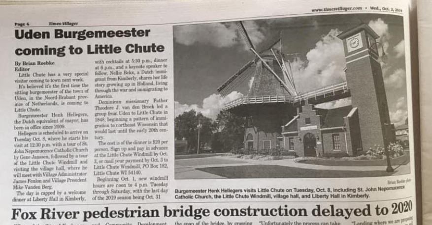 De lokale krant meldt de komst van 'Uden Burgemeester'.