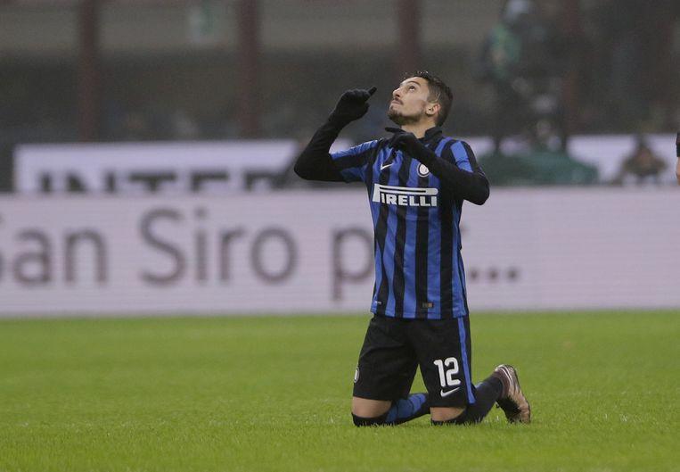 Alex Telles van Inter viert zijn doelpunt. Beeld ap