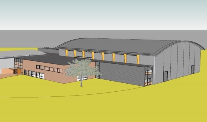 De nieuwe hal. Illustratie Visser en Withag Architekten