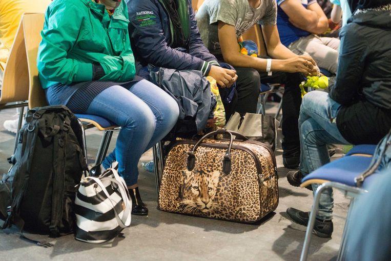 Migranten in een registratiekantoor in Passau, in het zuiden van Duitsland.