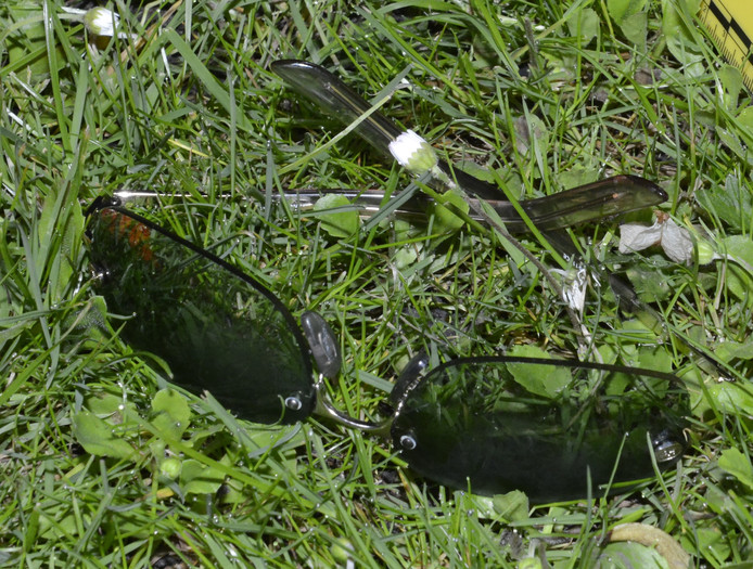 De politie zoekt de eigenaar van deze bril die in het Binnenpark is gevonden nadat een 30-jarige Zoetermeerse werd neergestoken.