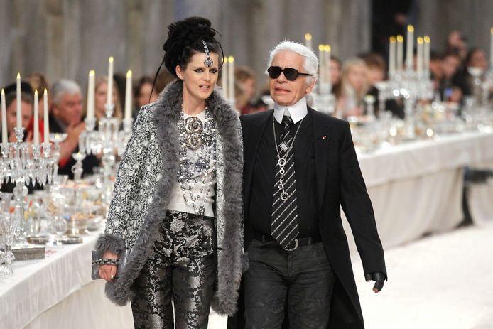 Stella Tennant en Karl Lagerfeld.