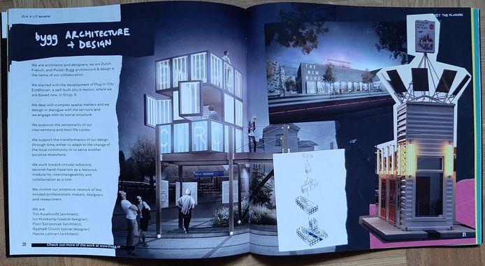 De pagina over BYGG, architecten- en ontwerpersbureau, in het  Plug-in-City Magazine van de deelnemers aan het Eindhovense tijdelijke, circulaire living lab op Strijp-S.