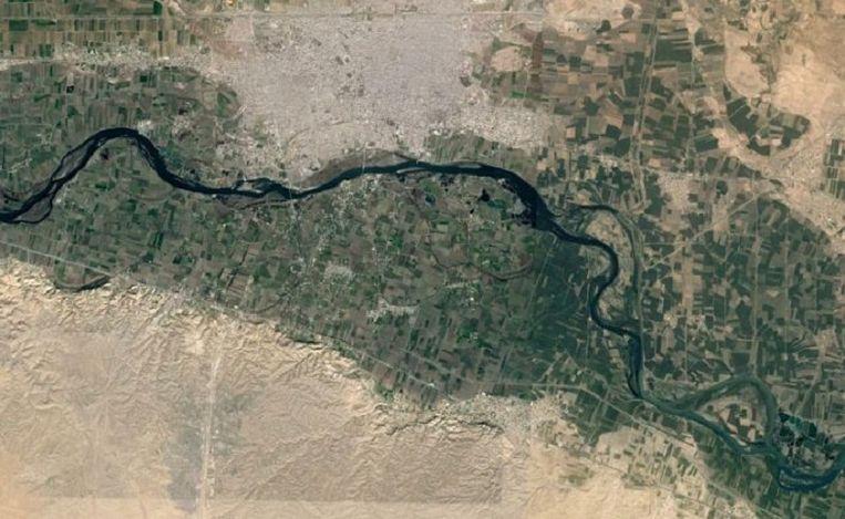 Google Maps afbeelding van de omgeving van Raqqa. Beeld Bellingcat.com