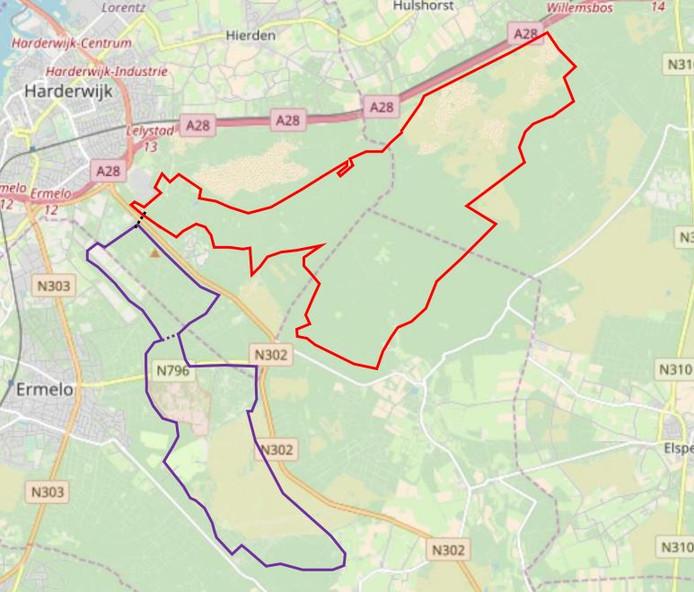 De twee lussen van de nieuwe mountainbikeroute van Ermelo en Harderwijk. Samen goed voor 45 kilometer fietsplezier.