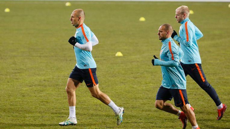 Arjen Robben, Wesley Sneijder en Davy Klaassen Beeld ANP
