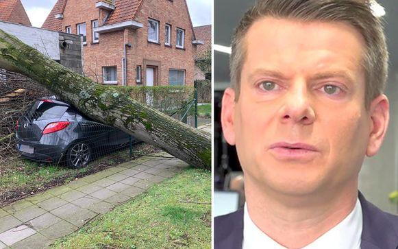 """""""Deze storm heeft een zeer groot windveld, dat in zijn volledige lengte over ons land trekt"""", zegt weerman David Dehenauw."""