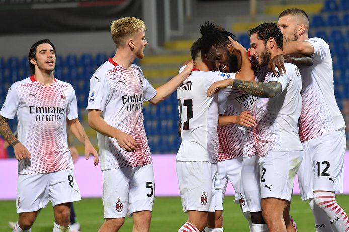Vreugde bij de spelers van AC Milan na de 0-1.
