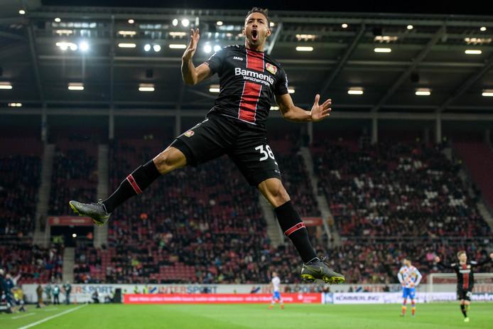 Karim Bellarabi viert zijn goal tegen FSV Mainz op 8 februari.