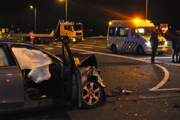 De situatie na het ongeval op Rondweg-Oost in januari 2018.