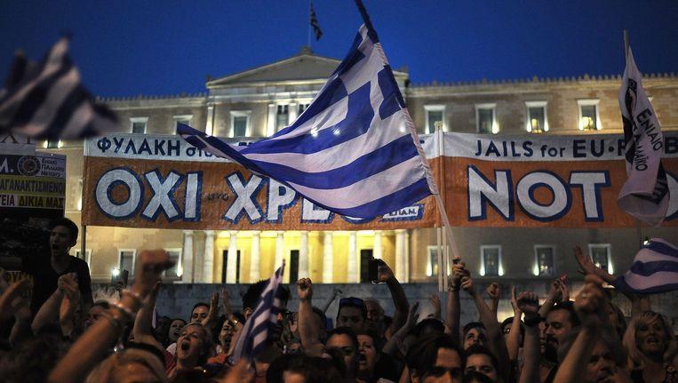 Demonstranten in de straten van Athene Beeld anp