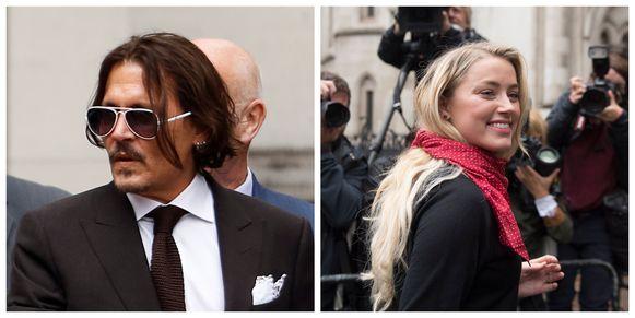 Johnny Depp en Amber Heard voor het Royal Courts of Justic