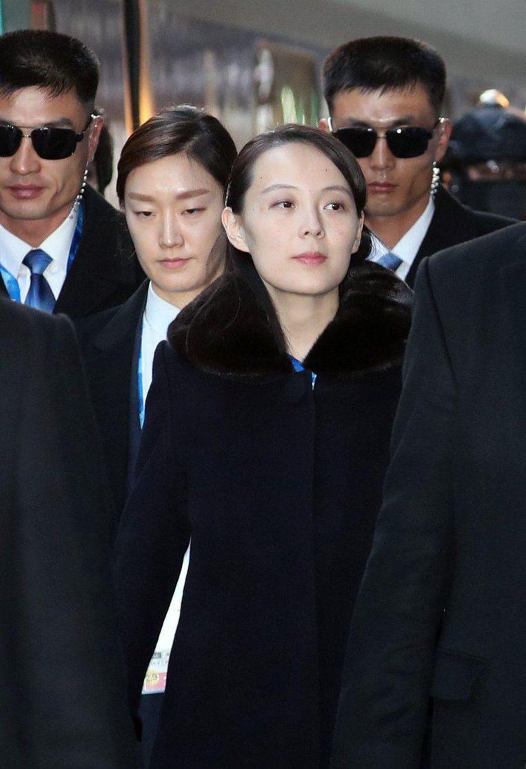 Kim Jo-jong, de zus van de Noord-Koreaanse leider Kim Jong-un, vrijdag bij haar aankomst in Zuid-Korea. Beeld AFP