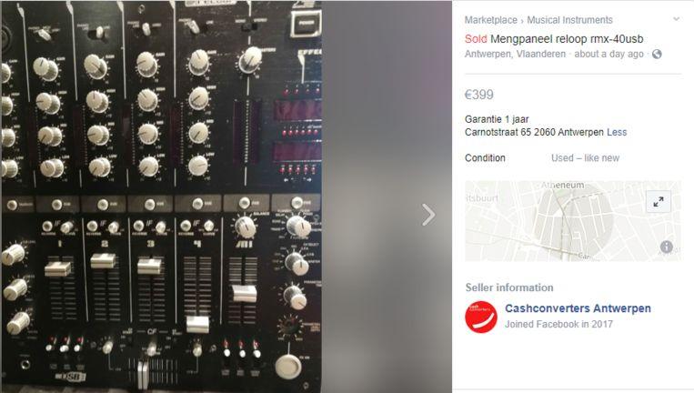 Het mengpaneel werd op de marktplaats van Facebook voor vierhonderd euro verkocht.