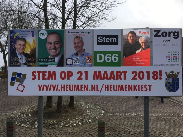 Verkiezingsbord van de gemeente Heumen