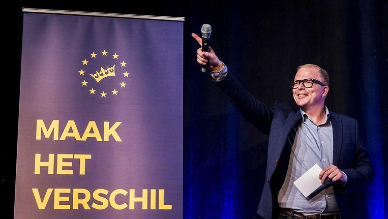 Initiatiefnemer Jan Roos op de avond van de uitslag van het referendum. Beeld ANP