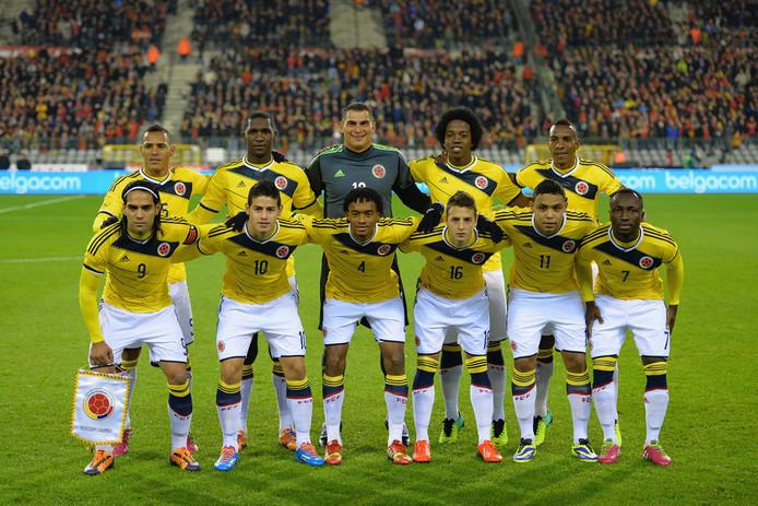 Het team van Colombia voor het oefenduel met België.
