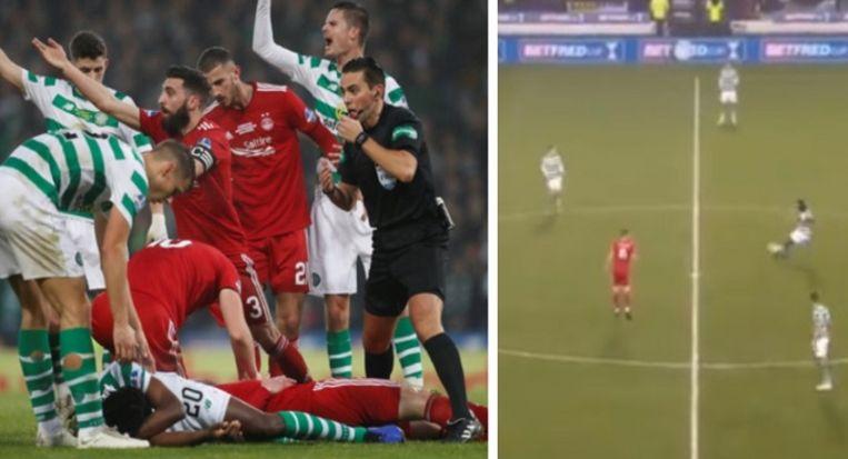 Dedryck Boyata kwam eerst onzacht in aanraking met Gary Mackay-Steven en leverde later in de eerste helft de assist af voor de enige treffer in Celtic - Aberdeen.