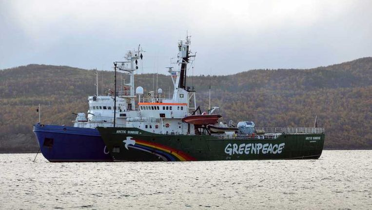 Het schip de Arctic Sunrise waarop de Greenpeace-activisten voeren voordat ze werden opgepakt door de Russische autoriteiten. Beeld epa