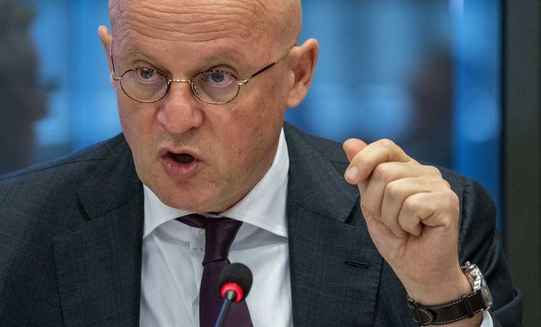 Minister van Justitie Ferd Grapperhaus  tijdens het algemeen overleg in de Tweede Kamer over de jaarwisseling.   Beeld ANP