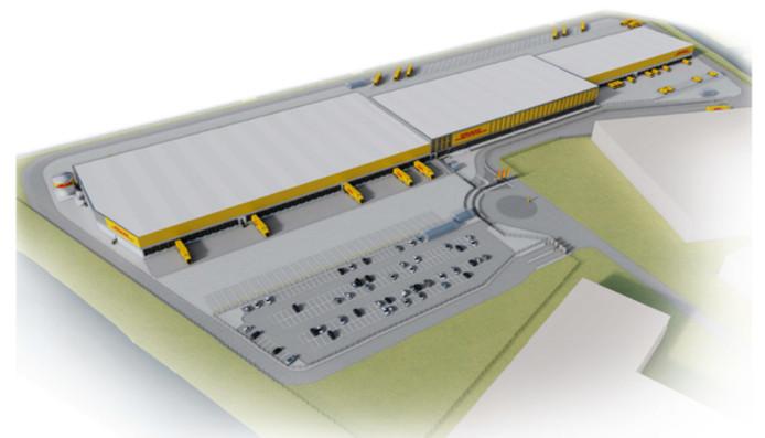 Een impressie van het nieuwe sorteercentrum van pakketbezorger DHL in Zaltbommel, dat nu in aanbouw is.