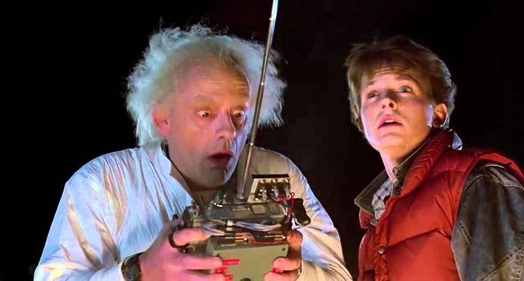 Christopher Lloyd en Michael J. Fox in Back to the Future (Robert Zemeckis, 1985). Beeld