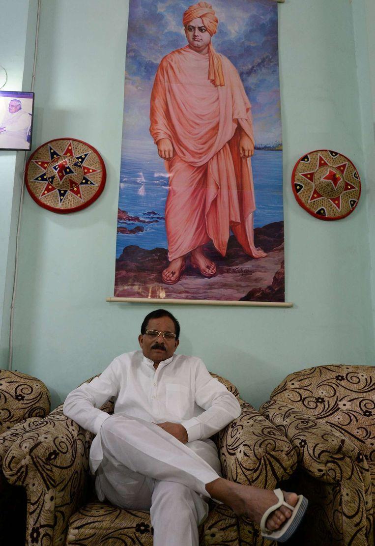 De nieuwe Indiase minister van Yoga Shripad Yesso Naik. Beeld afp
