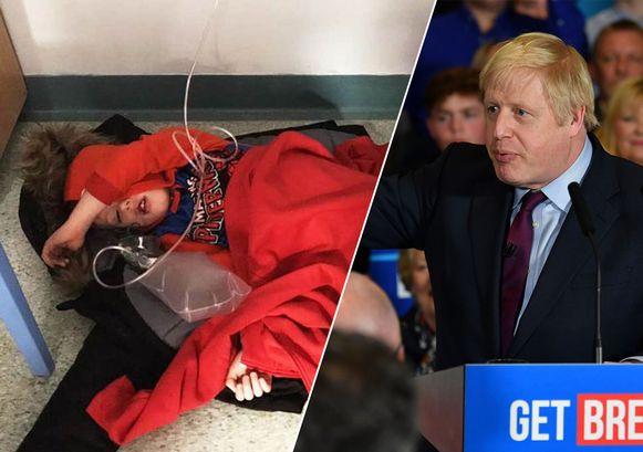 Premier Boris Johnson wordt beschuldigd van ongevoeligheid tegenover de foto van een jongen op een ziekenhuisvloer.