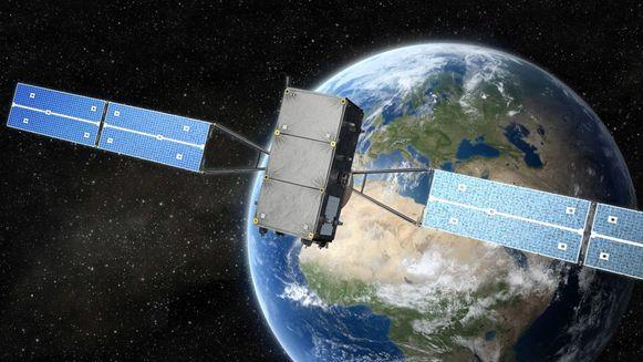 Een artistieke impressie van de Europese GNSS-satelliet met op de achtergrond planeet Aarde.