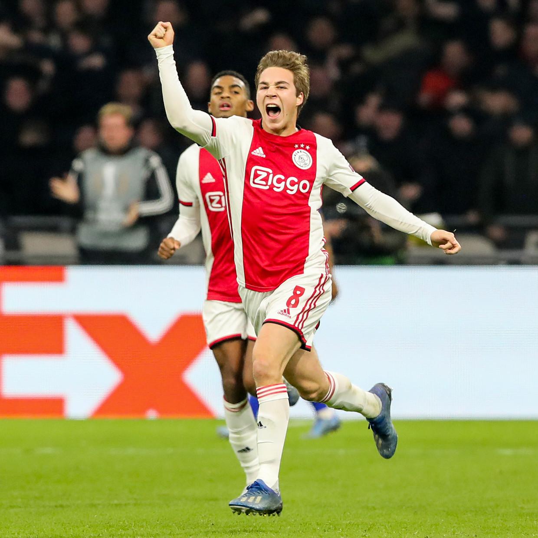 Carel Eiting (Ajax) tijdens de wedstrijd tegen Getafe, donderdag 27 februari. Beeld BSR Agency