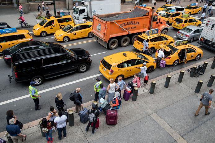 De gele taxi's in New York.