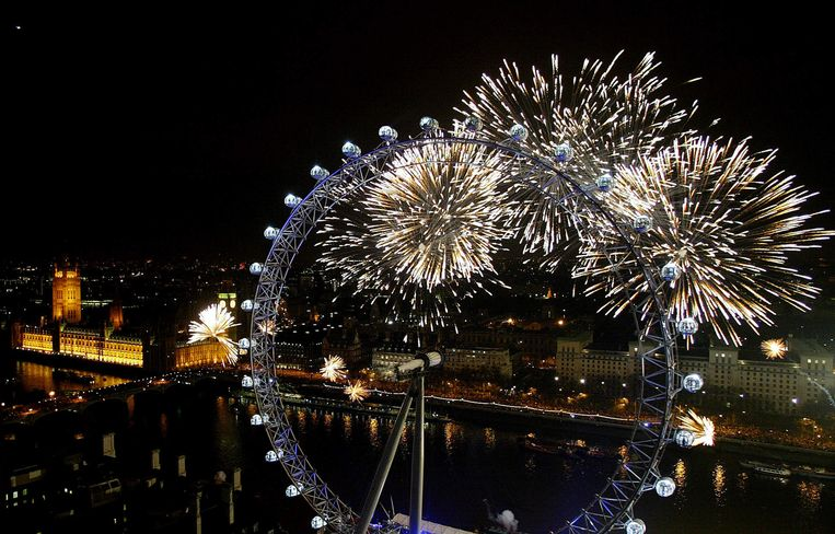 De vuurwerkshow in Londen Beeld Jim Watson