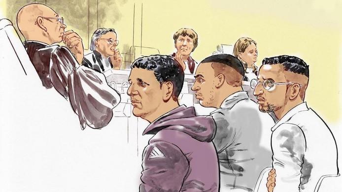 Van links naar rechts, verdachten Hicham M., Mohamed H. en Omar L.